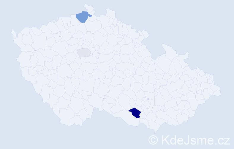 Příjmení: 'Kabrňa', počet výskytů 3 v celé ČR