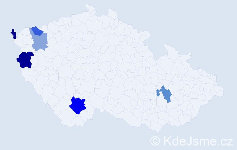 Příjmení: 'Čajkovičová', počet výskytů 12 v celé ČR