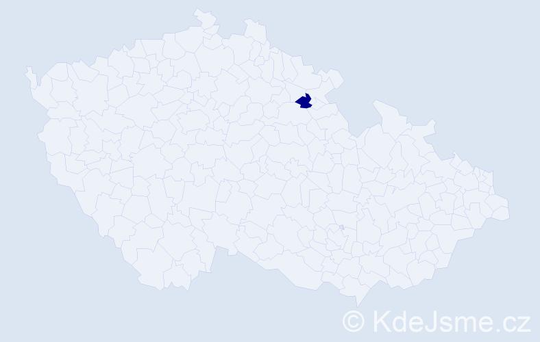 """Příjmení: '""""Erlebachová Šťastná""""', počet výskytů 1 v celé ČR"""