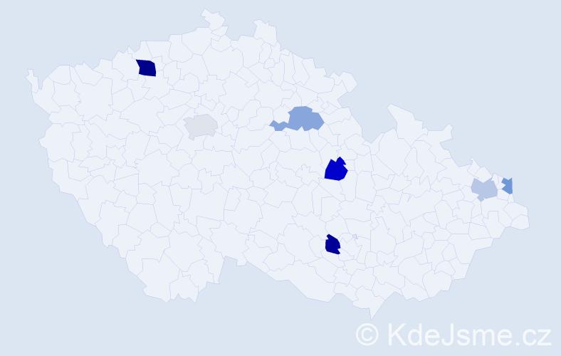 Příjmení: 'Kerekes', počet výskytů 9 v celé ČR