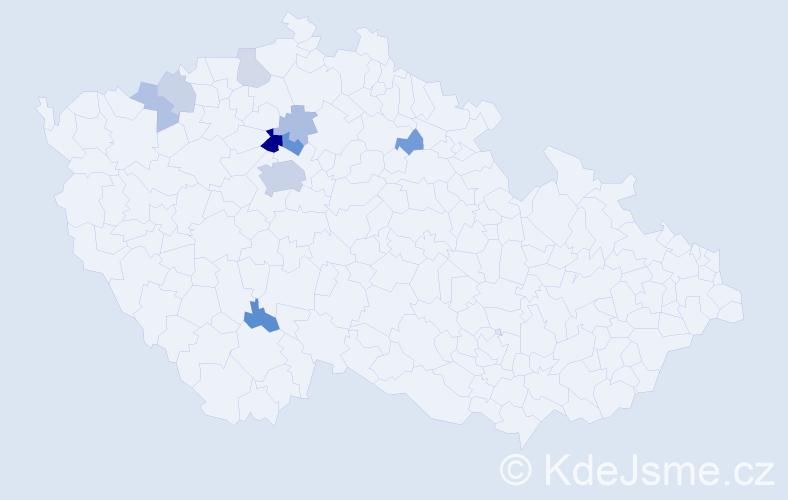 Příjmení: 'Humhej', počet výskytů 22 v celé ČR