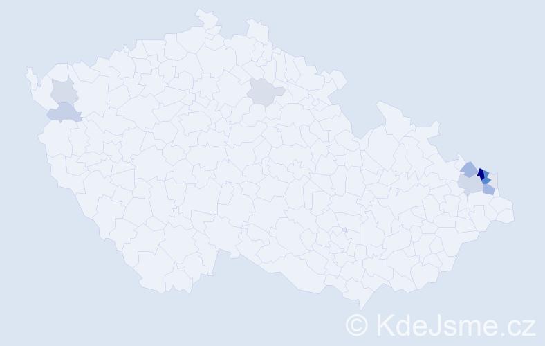 Příjmení: 'Giecek', počet výskytů 44 v celé ČR
