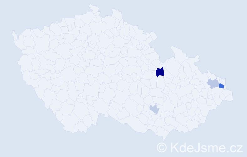 Příjmení: 'Klakla', počet výskytů 5 v celé ČR