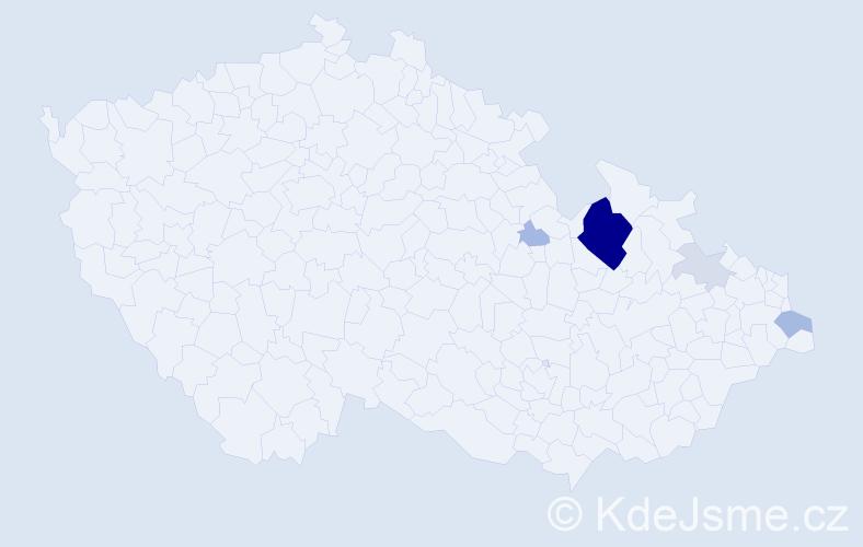 Příjmení: 'Cekrová', počet výskytů 20 v celé ČR