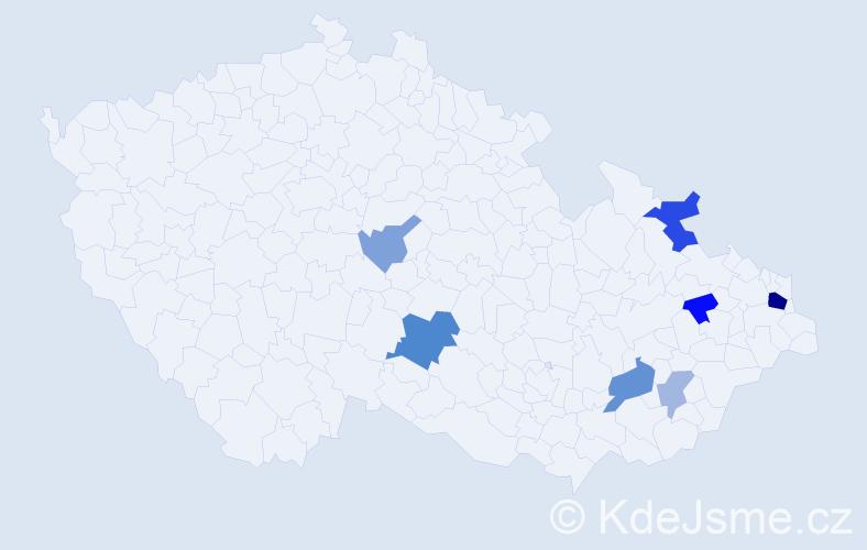 Příjmení: 'Hájová', počet výskytů 16 v celé ČR