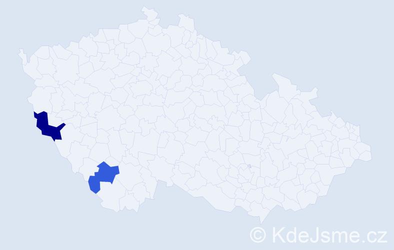 Příjmení: 'Gisler', počet výskytů 3 v celé ČR