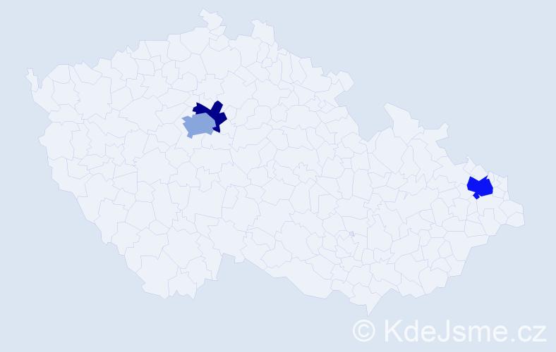 Příjmení: 'Dankovčík', počet výskytů 5 v celé ČR