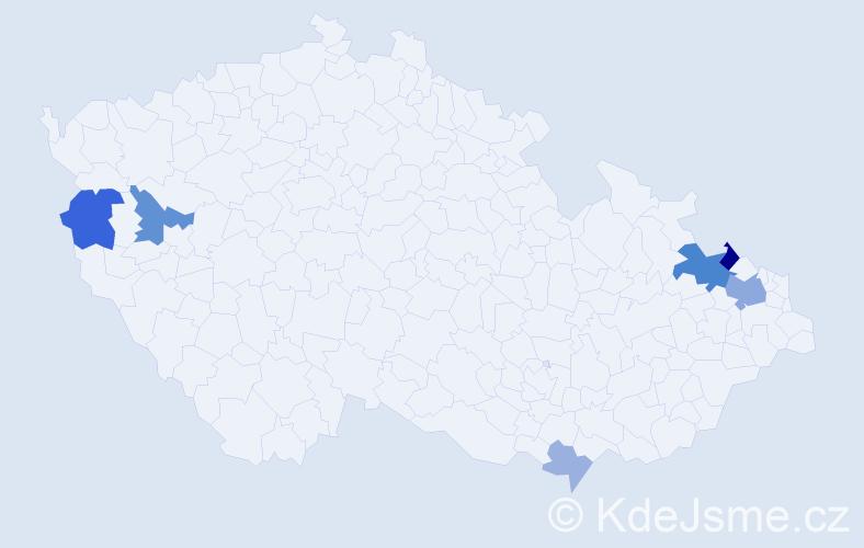 Příjmení: 'Količová', počet výskytů 15 v celé ČR