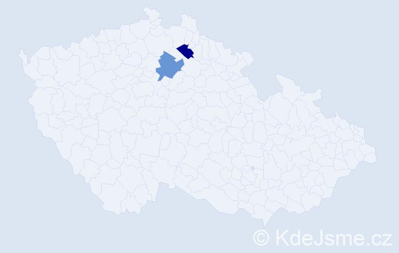 Příjmení: 'Ištenešová', počet výskytů 2 v celé ČR