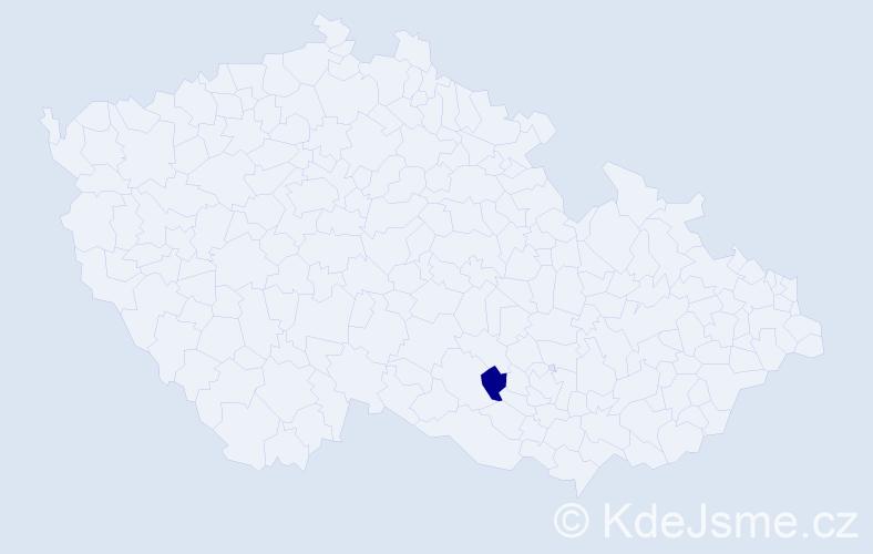 Příjmení: 'Bártesová', počet výskytů 1 v celé ČR