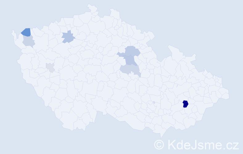 Příjmení: 'Čúzyová', počet výskytů 13 v celé ČR