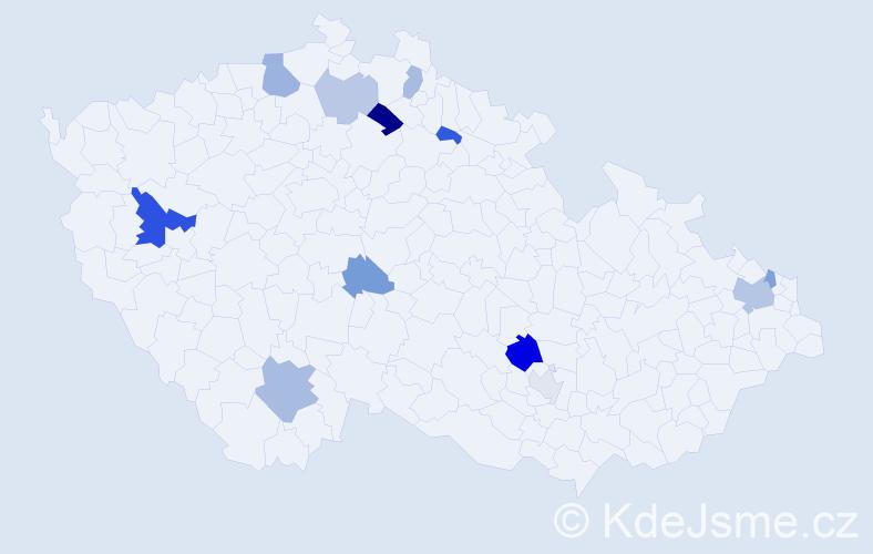 Příjmení: 'Čorbová', počet výskytů 22 v celé ČR