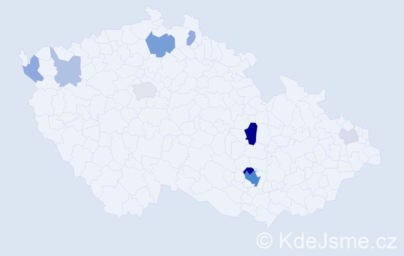 Příjmení: 'Fukarová', počet výskytů 24 v celé ČR