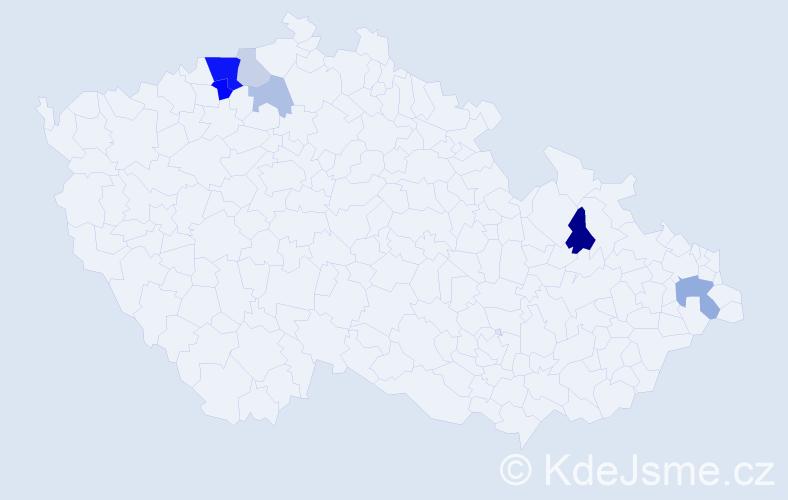 Příjmení: 'Čarady', počet výskytů 16 v celé ČR
