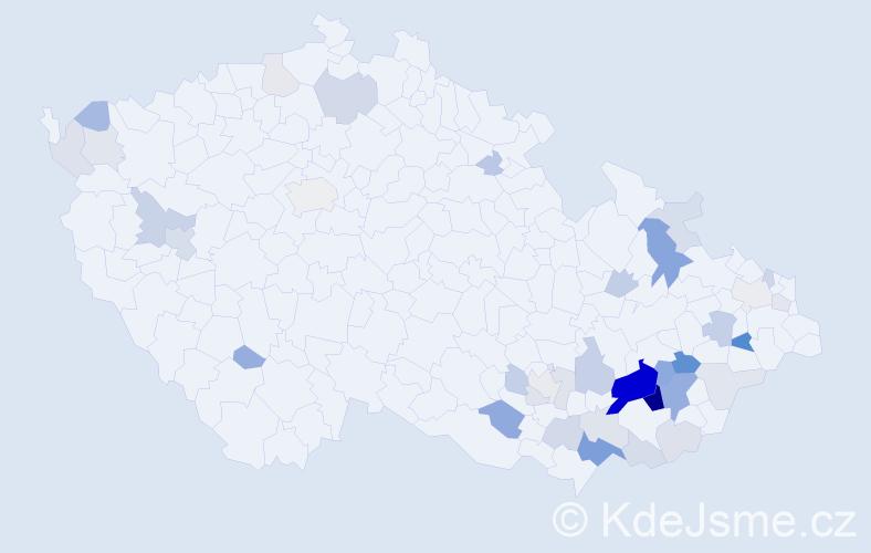 Příjmení: 'Galatík', počet výskytů 106 v celé ČR