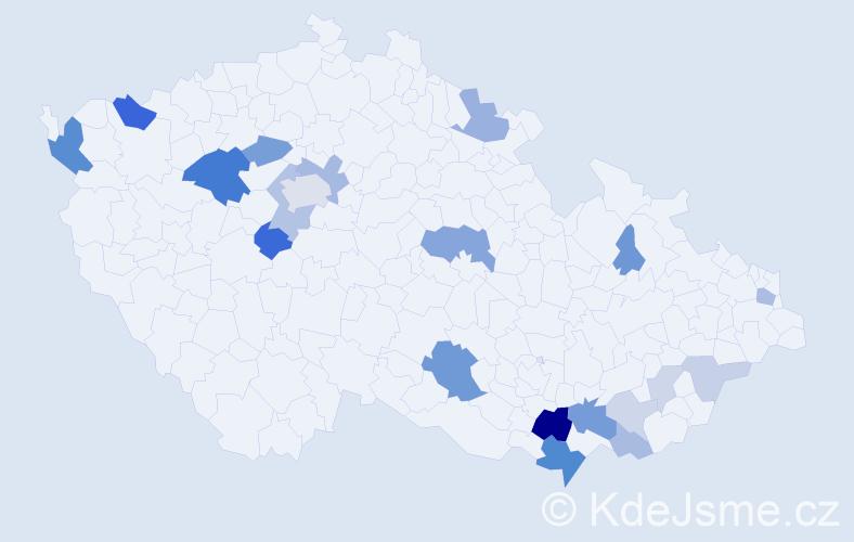 Příjmení: 'Heklová', počet výskytů 55 v celé ČR