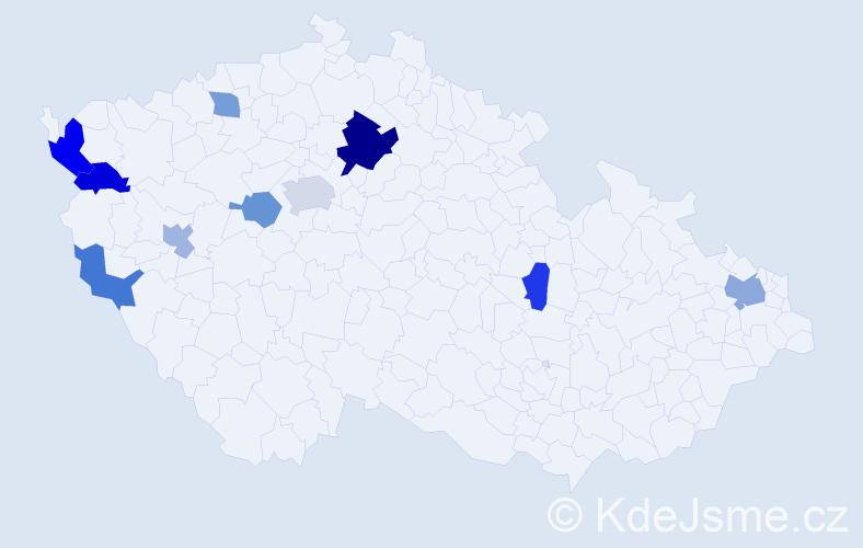 Příjmení: 'Angelovová', počet výskytů 16 v celé ČR