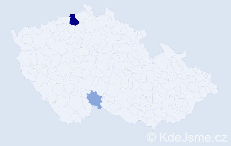 Příjmení: 'Kalamenová', počet výskytů 10 v celé ČR