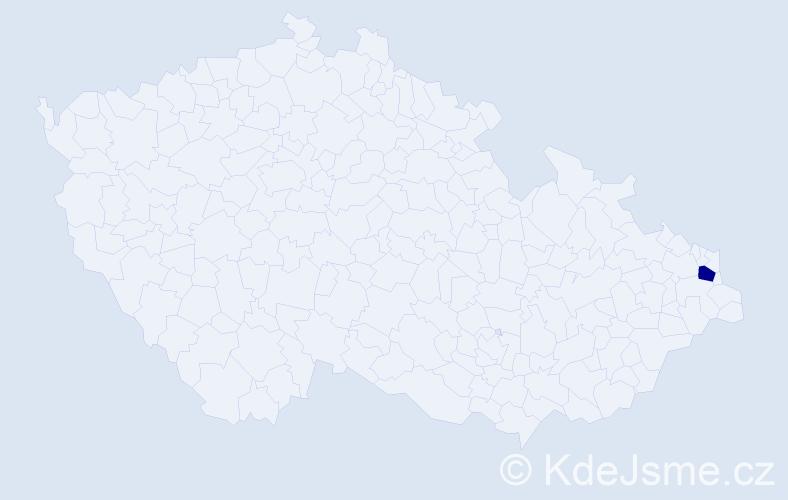 """Příjmení: '""""Barvík Afacan""""', počet výskytů 1 v celé ČR"""