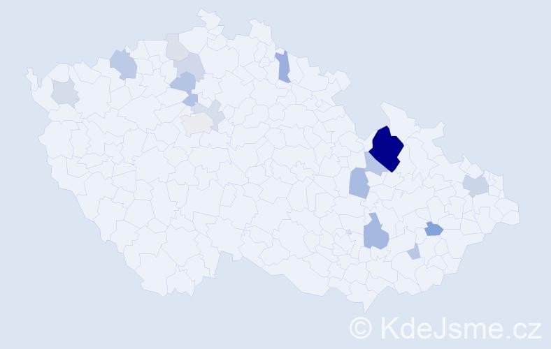 Příjmení: 'Kranichová', počet výskytů 38 v celé ČR