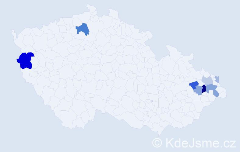Příjmení: 'Ladňák', počet výskytů 17 v celé ČR
