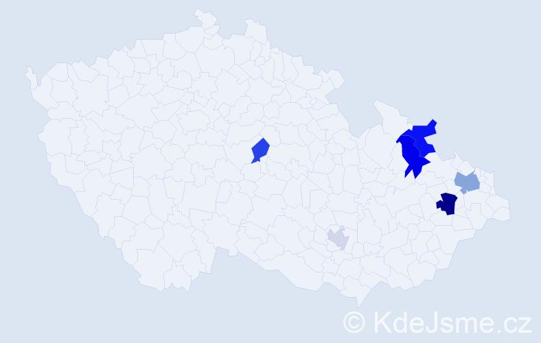 Příjmení: 'Jarombeková', počet výskytů 12 v celé ČR