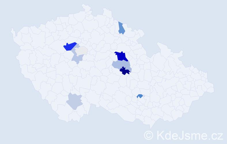 Příjmení: 'Černohubá', počet výskytů 22 v celé ČR