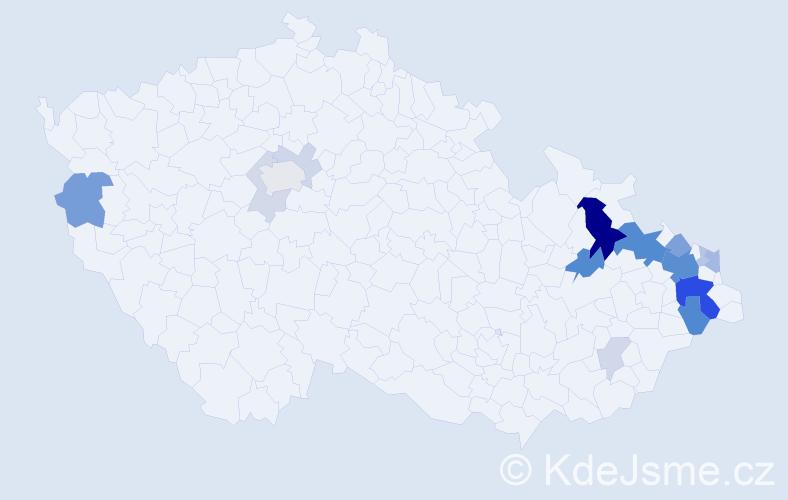 Příjmení: 'Hlistová', počet výskytů 57 v celé ČR