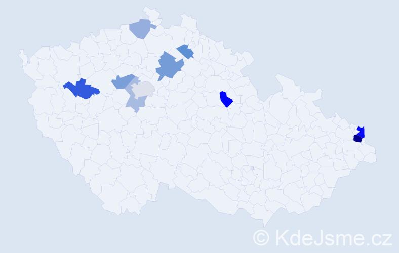 Příjmení: 'Lenghartová', počet výskytů 21 v celé ČR