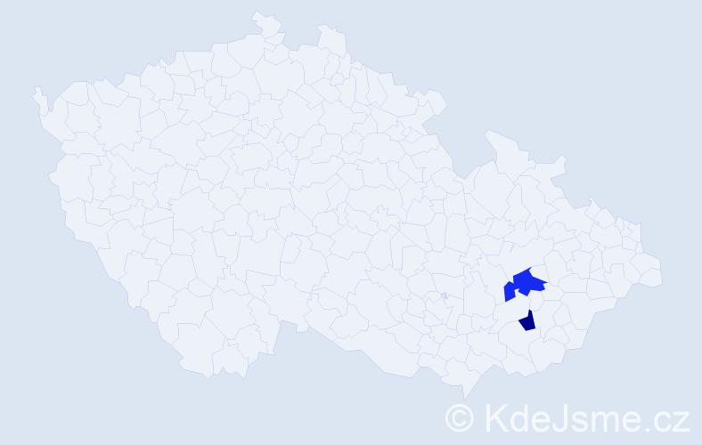 Příjmení: 'Kiflová', počet výskytů 5 v celé ČR