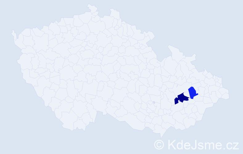 Příjmení: 'Kartúsková', počet výskytů 4 v celé ČR