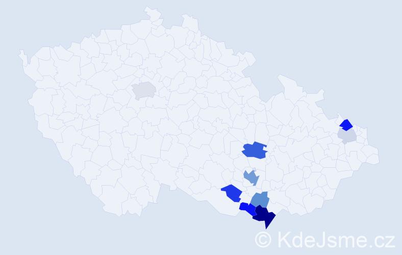 Příjmení: 'Fuis', počet výskytů 19 v celé ČR