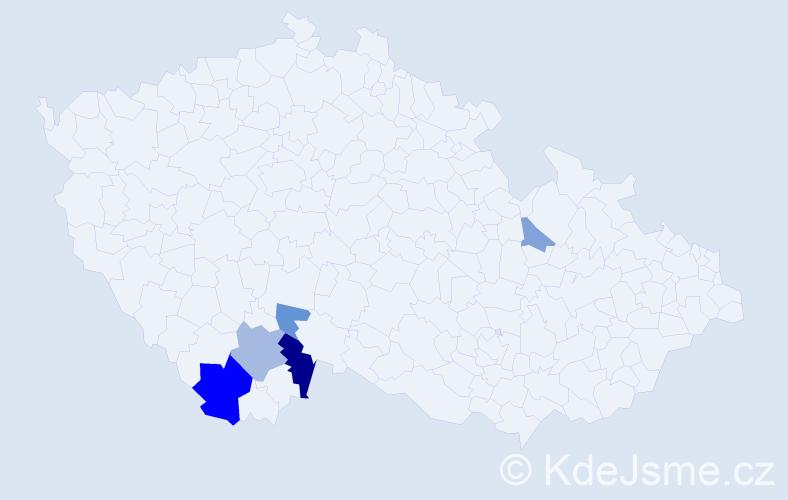 Příjmení: 'Jůzko', počet výskytů 11 v celé ČR