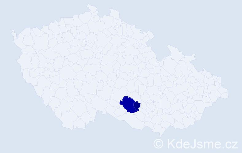 Příjmení: 'Hrozníček', počet výskytů 6 v celé ČR