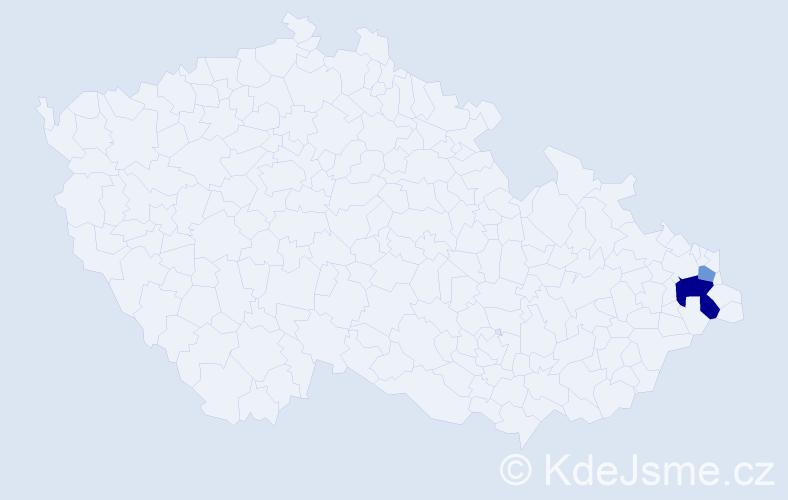 Příjmení: 'Bezkidová', počet výskytů 8 v celé ČR