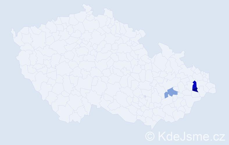 Příjmení: 'Ikl', počet výskytů 4 v celé ČR