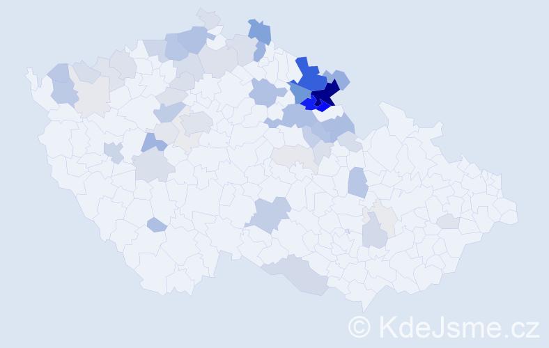 Příjmení: 'Kejzlar', počet výskytů 206 v celé ČR