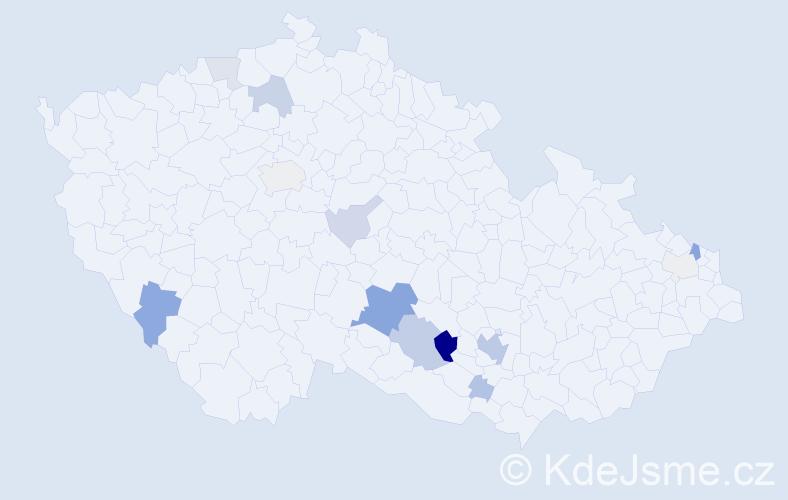 Příjmení: 'Bruzl', počet výskytů 56 v celé ČR