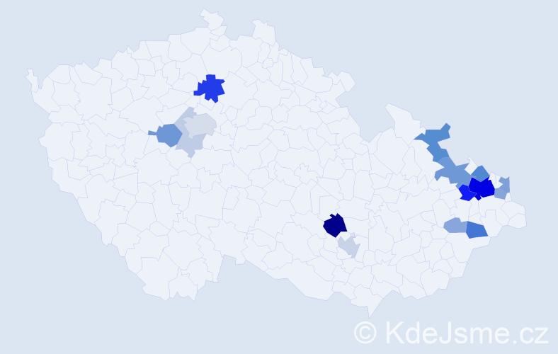Příjmení: 'Chlebovský', počet výskytů 49 v celé ČR