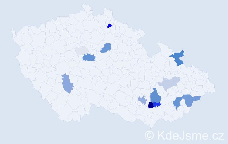 Příjmení: 'Kolofík', počet výskytů 24 v celé ČR