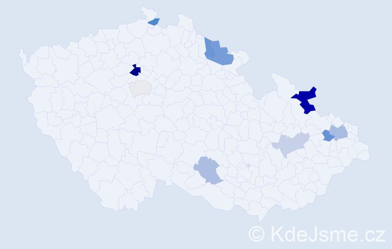 Příjmení: 'Hambalek', počet výskytů 18 v celé ČR