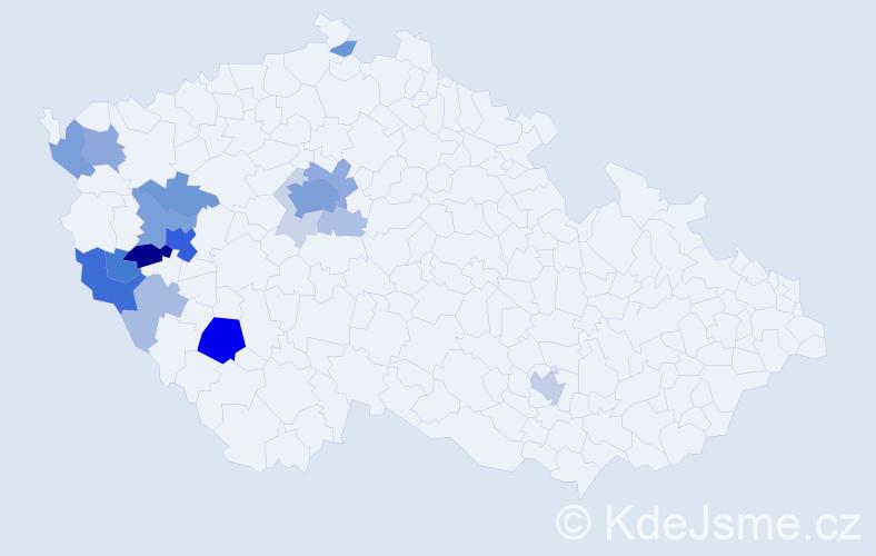 Příjmení: 'Kostlivý', počet výskytů 63 v celé ČR