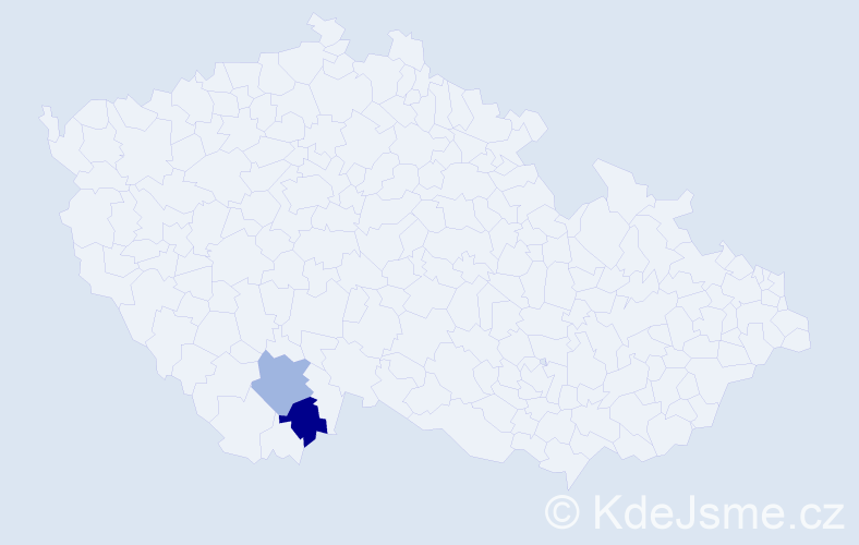 Příjmení: 'Kilvady', počet výskytů 6 v celé ČR