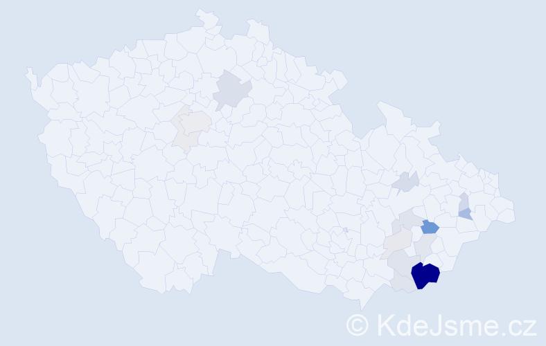 Příjmení: 'Končitík', počet výskytů 64 v celé ČR