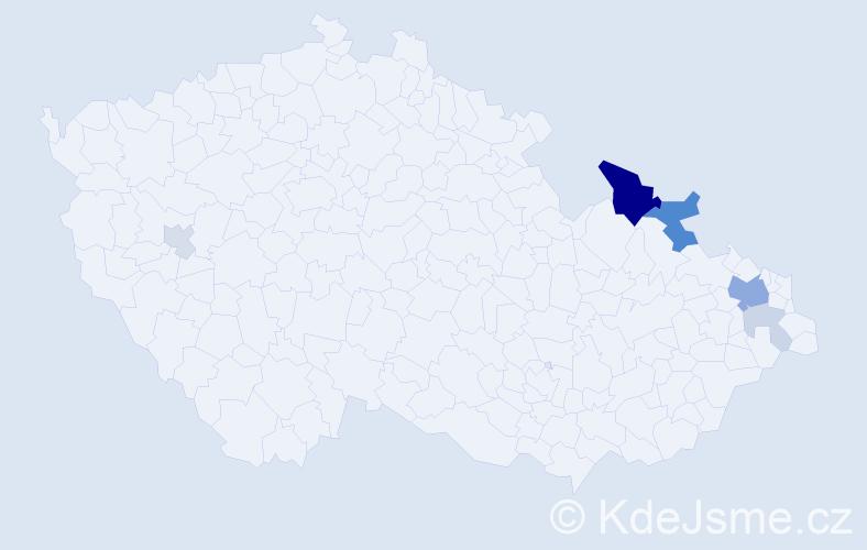 Příjmení: 'Kocuba', počet výskytů 17 v celé ČR