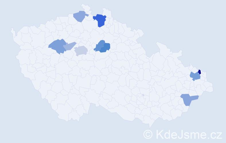 Příjmení: 'Ďurík', počet výskytů 20 v celé ČR