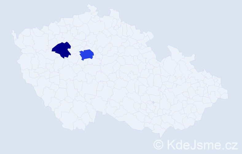 Příjmení: 'Fabelová', počet výskytů 9 v celé ČR