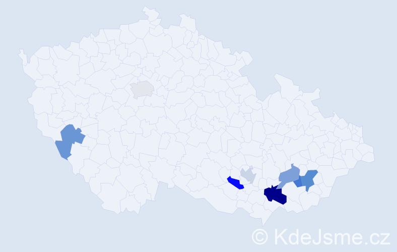 Příjmení: 'Jurutka', počet výskytů 11 v celé ČR