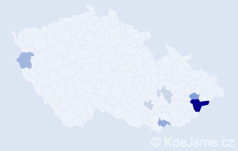 Příjmení: 'Kladňáková', počet výskytů 20 v celé ČR