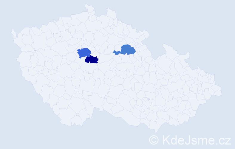 Příjmení: 'Espinoza', počet výskytů 13 v celé ČR